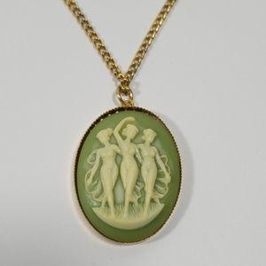 Three Grace's Carnelian Cameo Necklace